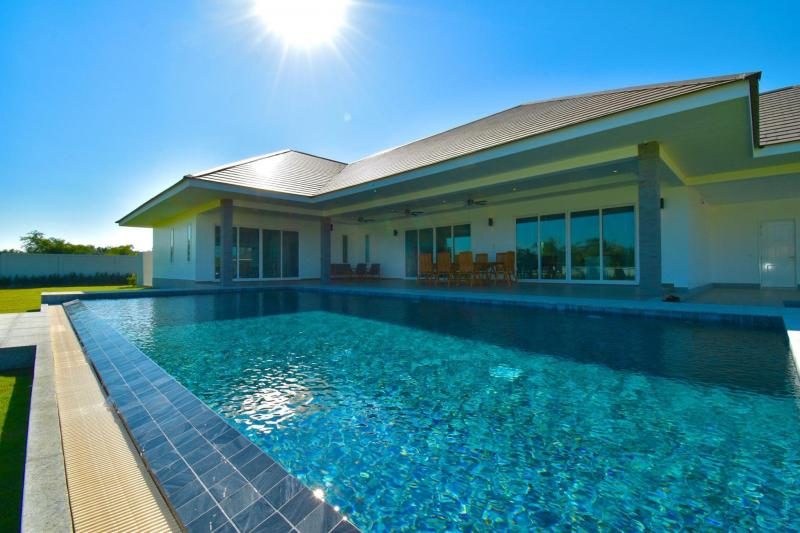 Eco-friendly 3 bedroom pool villa for sale with a huge land plot, Pranburi – Newly built!