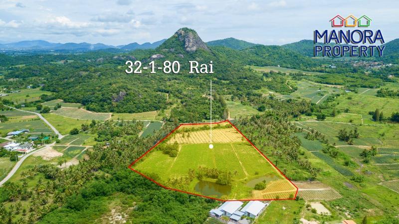 32 Rai plot of land for sale in Pranburi – 10 km from Khao Tao – Only 615,000 THB / Rai